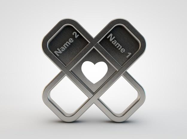 Heart Name Pendant 3d printed heart pendant front1