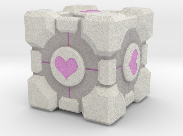 Weighted Portal Cube (In Color) - Heart 2""