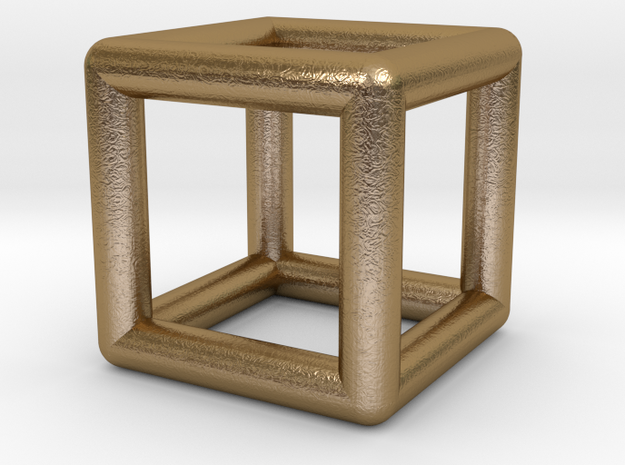 0589 Cube E (a=10mm) #001 in Polished Gold Steel