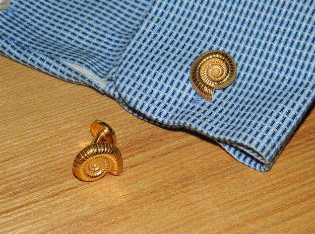 Ammonite Cufflinks in 18k Gold Plated Brass