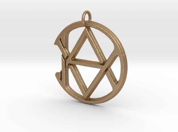Monogram Initials AAD Pendant  in Matte Gold Steel