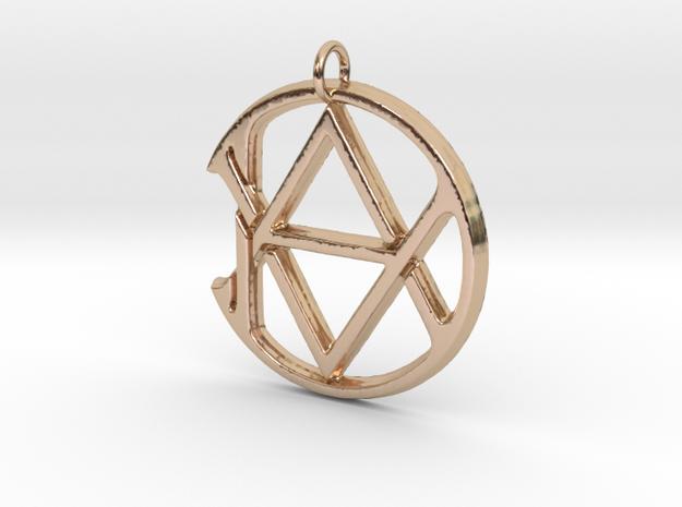 Monogram Initials AAD Pendant  in 14k Rose Gold