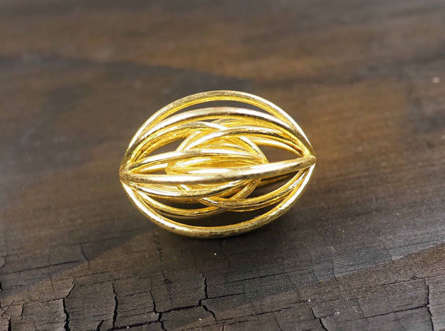 Navette Pendant Large in 14k Gold Plated Brass