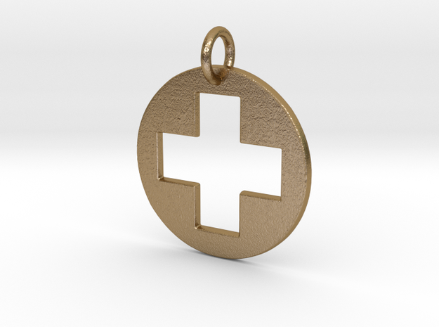 Medical Cross Pendant in Polished Gold Steel