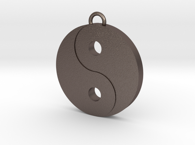 Ying Yang in Polished Bronzed Silver Steel