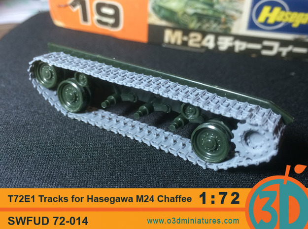 T72E1 tracks for Hasegawa M24 Chaffee 1/72 scale S in Smooth Fine Detail Plastic