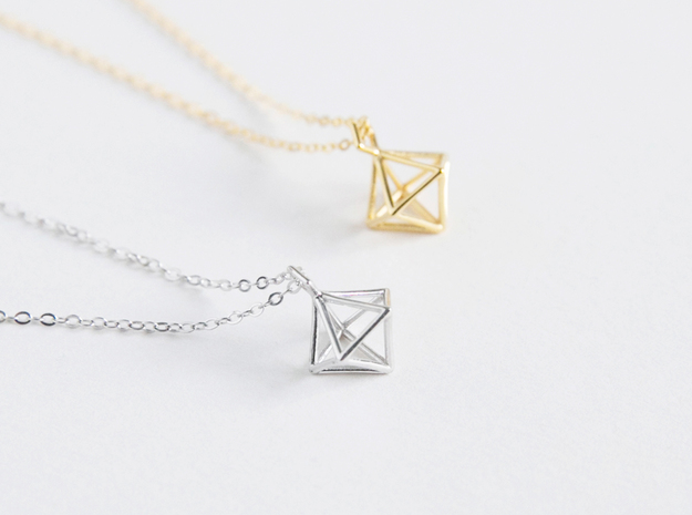 Geometric Necklace #S in Polished Silver