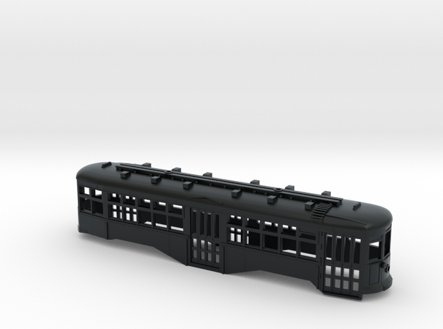 N Scale B&QT 8000-series Trolley Body in Black Hi-Def Acrylate