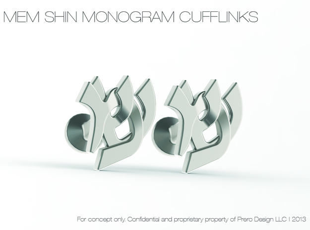 "Hebrew Monogram Cufflinks - ""Mem Shin"" in Polished Silver"