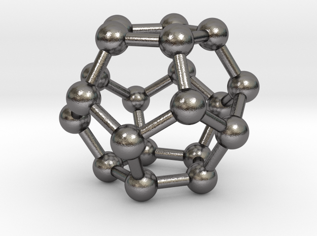 0600 Dodecahedron V&E (a=10mm) #003 in Polished Nickel Steel