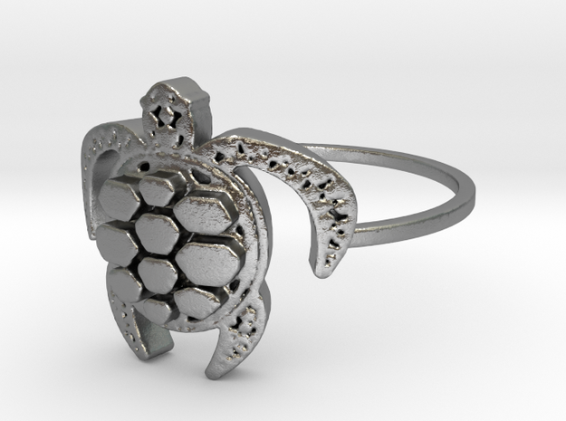 Sea Turtle Ring in Natural Silver: 7 / 54