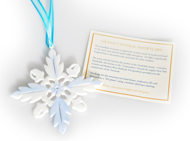 Grand Central Snowflake - Flat 3d printed Snowflake and info card