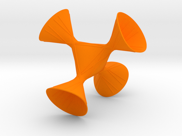 A tetrahedral symmetric cubic with lines in Orange Processed Versatile Plastic: Small