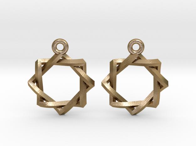"Penrose Melchizedek Symbol Earrings .8"" in Polished Gold Steel"