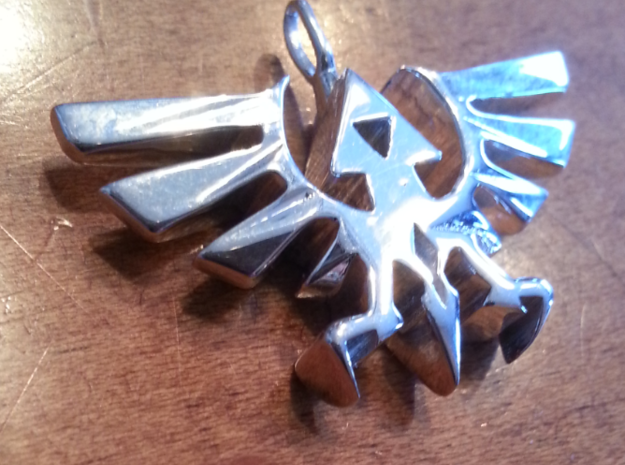 Hyrule Triforce Charm in Polished Silver