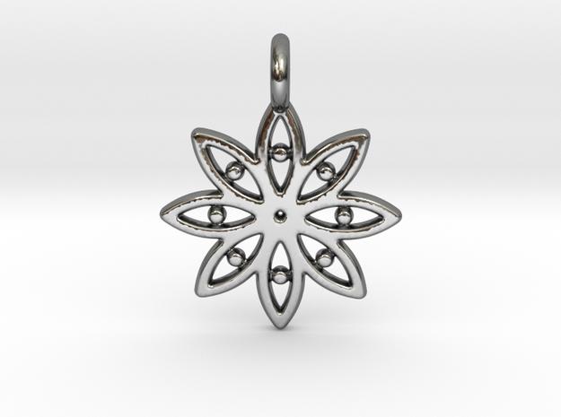 A Flower C Earring in Fine Detail Polished Silver