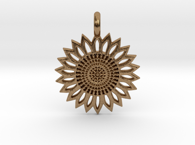 A Sunflower Earring in Natural Brass