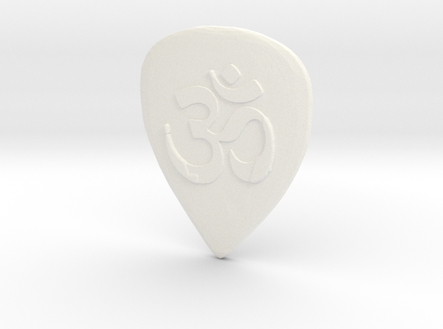 Ohm Guitar Pick in White Strong & Flexible Polished
