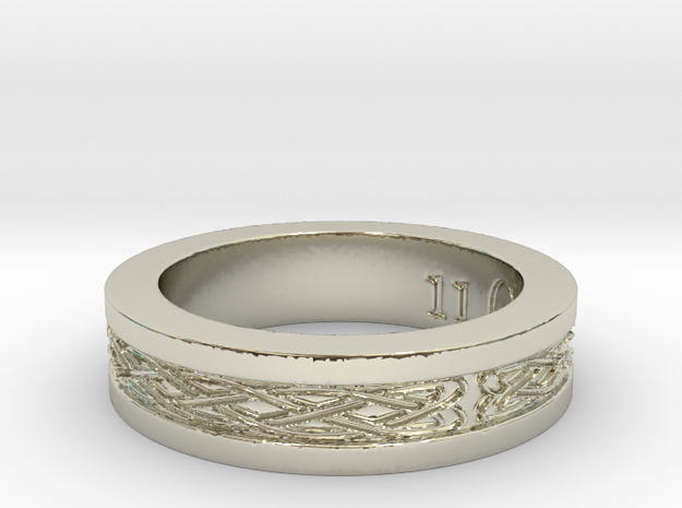 Celtic Knot Band in 14k White Gold: 11 / 64