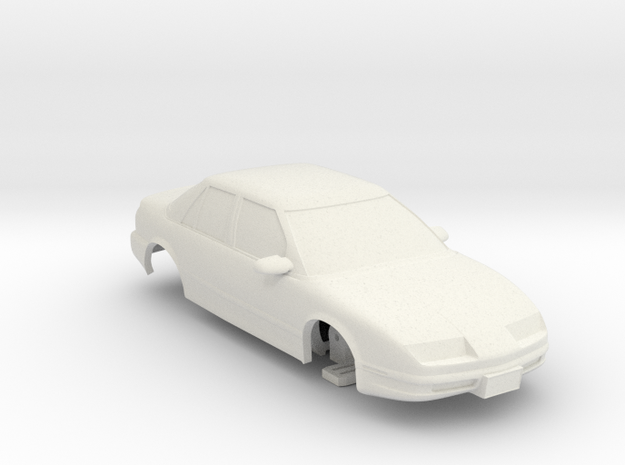 HO Slot Car 1992 Saturn SL2 - unibody chassis in White Strong & Flexible