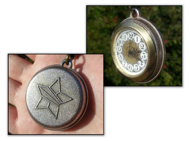 Pocket Watch For FitUp Clock Insert 1 7/16in in Polished Bronzed Silver Steel