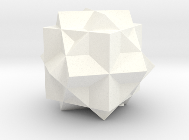 THREE CUBE COMPOUND in White Strong & Flexible Polished