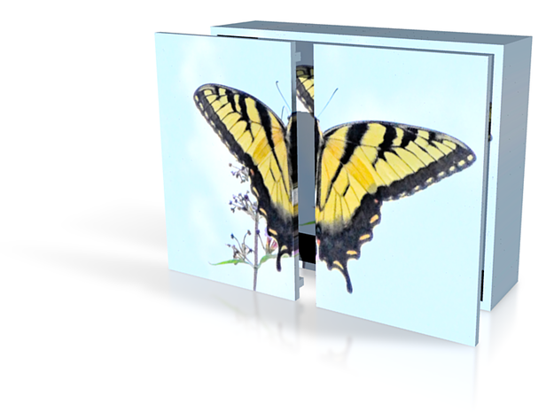 Butterfly box with split lid 4in 3d printed