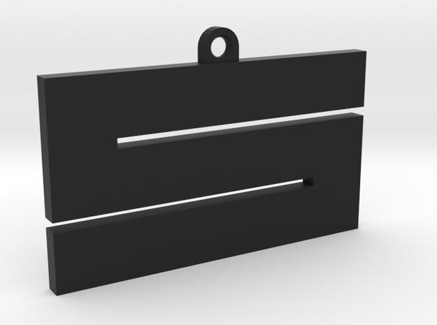 'S' keychain (5.5cm) in Black Natural Versatile Plastic