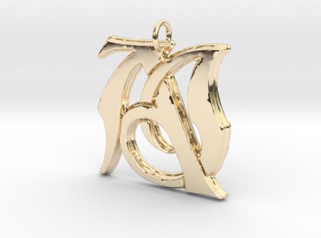 Monogram Initials AJ Pendant in 14K Yellow Gold