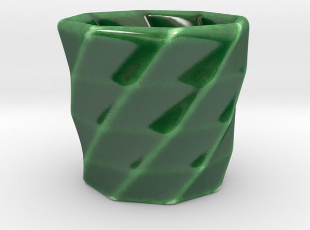 Geometric Espresso Cup in Gloss Oribe Green Porcelain