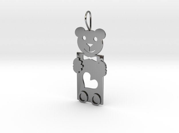 Teddy And Heart in Premium Silver