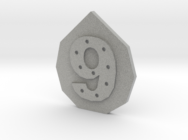 9-hole, Number 9, 9 Sided Button in Metallic Plastic