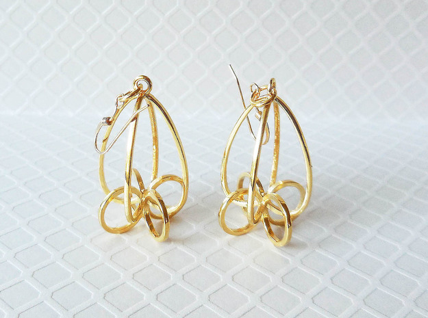 Finials - Pair of Earrings in Precious Metal in 18k Gold Plated