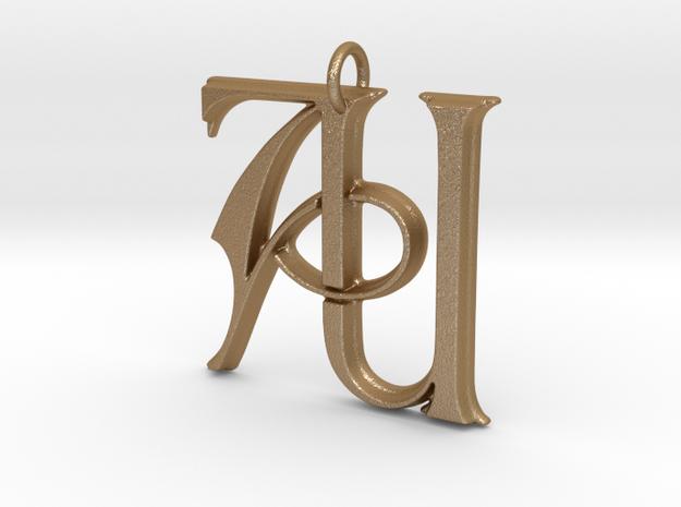 Monogram Initials AU Pendant in Matte Gold Steel