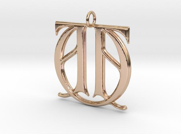 Monogram Initials AAU Pendant in 14k Rose Gold