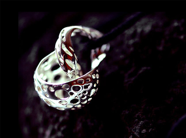 Shell pendant 3d printed Premium silver