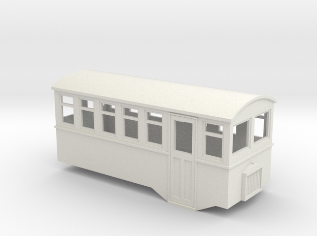 5.5mm scale 4 wheel railbus in White Strong & Flexible