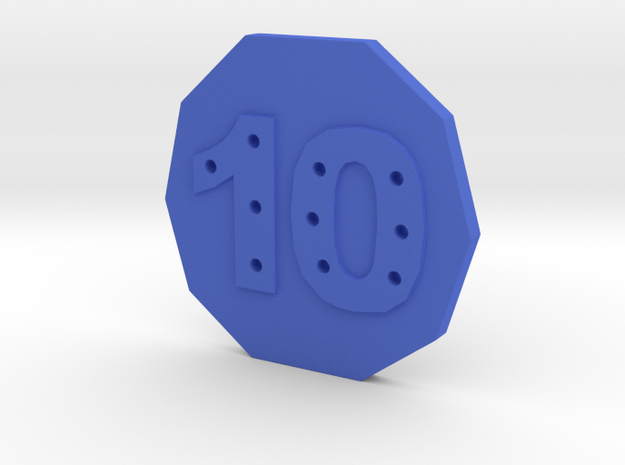 10-hole, Number 10, 10 Sided Button in Blue Strong & Flexible Polished