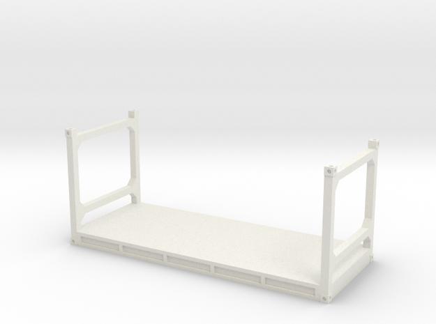 S Scale 20ft Flatrack in White Natural Versatile Plastic