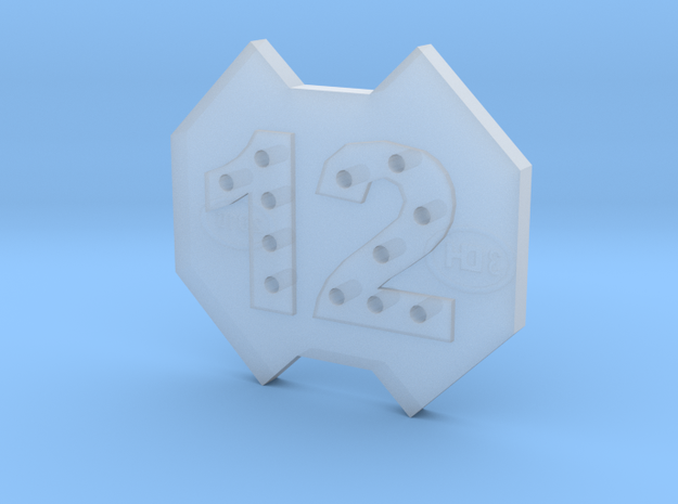 12-hole Number 12 12 Sided Shape Button in Frosted Ultra Detail