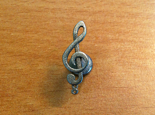 Tenor Treble Clef Cufflink (single) in Polished Bronzed Silver Steel