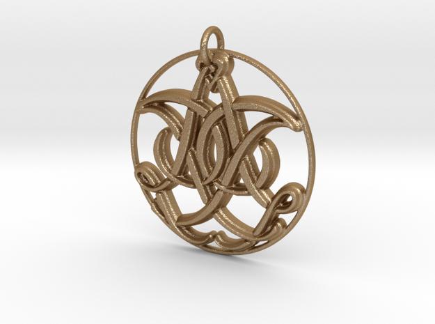 Monogram Initials IIA Pendant in Matte Gold Steel