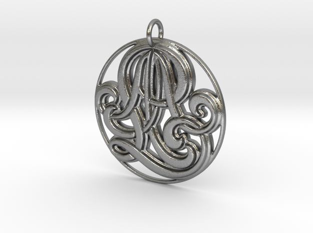 Monogram Initials AAL Pendant in Raw Silver