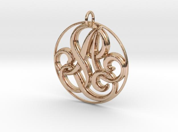 Monogram Initials AL Pendant in 14k Rose Gold