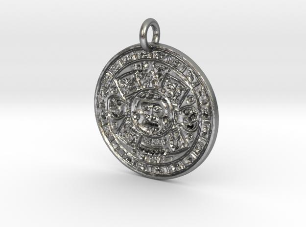 Mayan Birth Chart Pendant F in Natural Silver