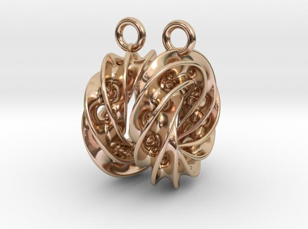 Twisted Scherk Linked 4,3 Torus Knots Earrings in 14k Rose Gold Plated Brass