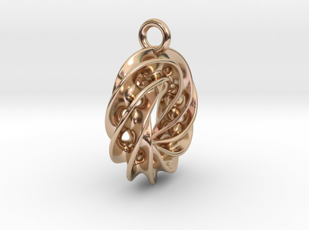 Twisted Scherk Linked 4,3 Torus Knots Pendant – Sm in 14k Rose Gold Plated Brass