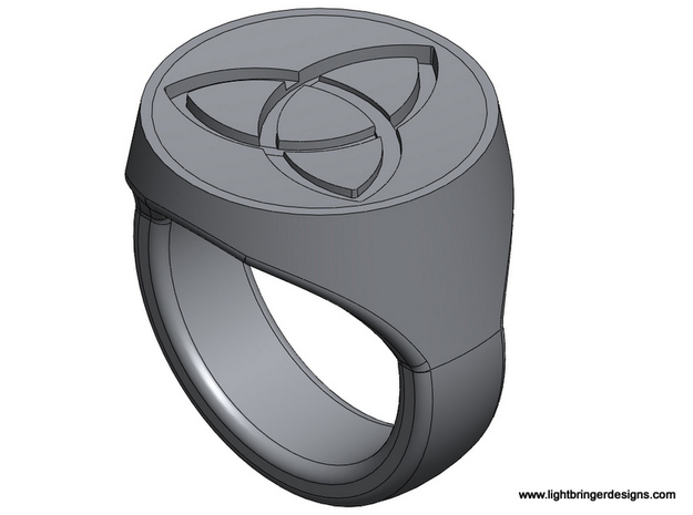 Trinity Signet Ring 3d printed The ring at an angle