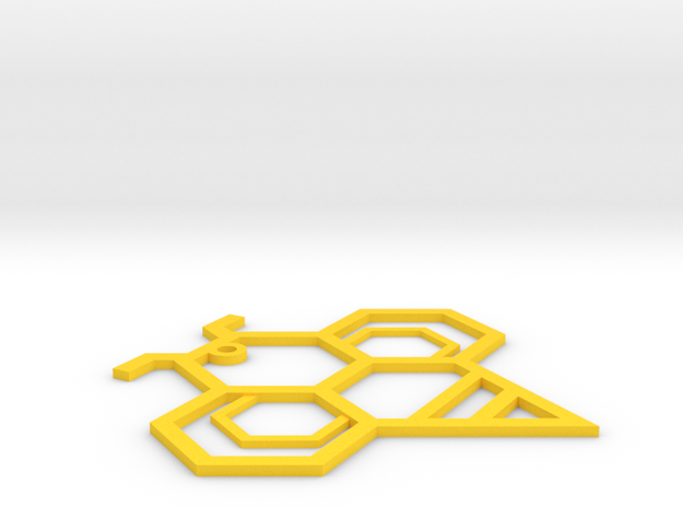 Hexagonal Bee in Yellow Strong & Flexible Polished: Small
