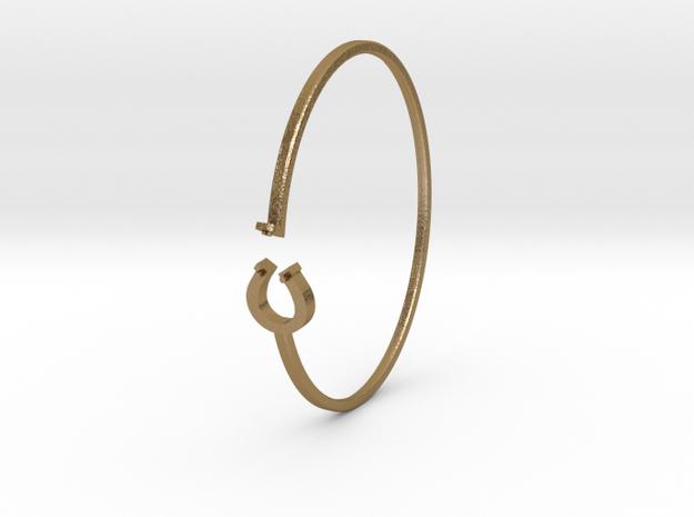 Horse shoe bracelet for her in Polished Gold Steel